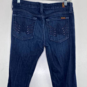 """7FAM Bootcut Jeans Women's Size 27 Embellished """"A"""" Pocket Seven for all Mankind"""